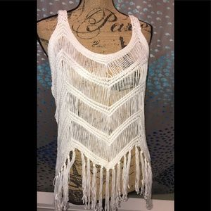 Cover Up Top Swim Beach White Fringe One Size NWT